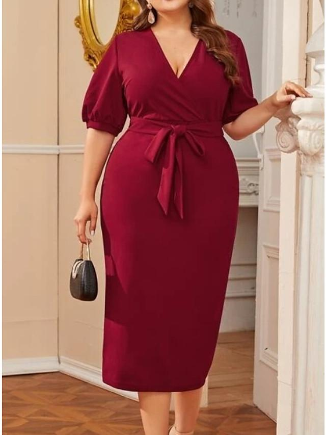 Women's Shift Dress Knee Length Dress - Half Sleeve Solid Color Summer Casual 2020 Wine XXXL XXXXL XXXXXL XXXXXXL