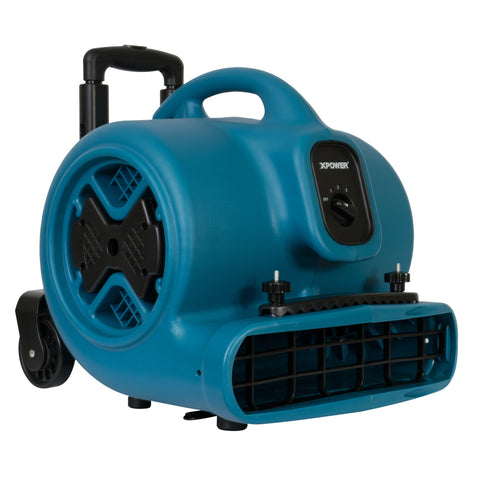 XPOWER P-630HC 1/2 HP Air Mover w/ Telescopic Handle & Wheels & Carpet Clamp