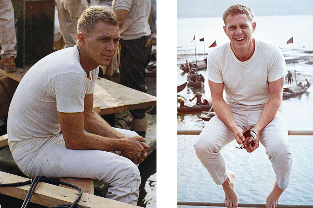 Steve McQueen wearing all white jeans and white shirt