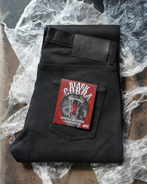 Black Cobra Stretch Selvedge Folded