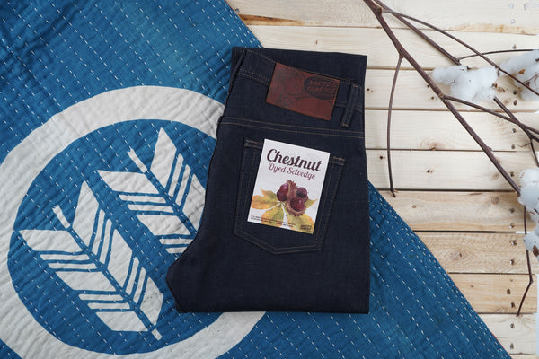 Chestnut Dyed Selvedge Folded