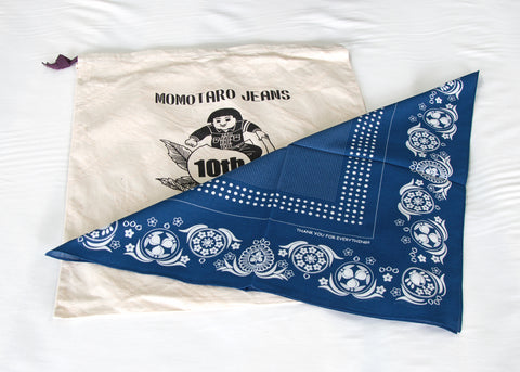 Canvas draw-string bag and indigo-dyed bandana