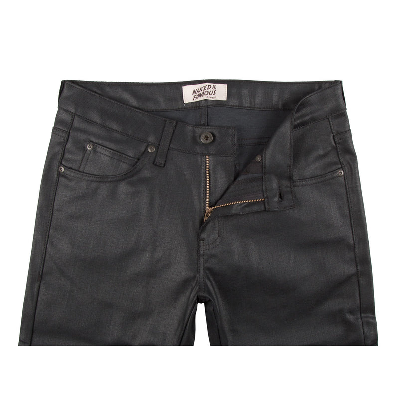 Wax Coated Black Stretch Jean by Naked & Famous Denim