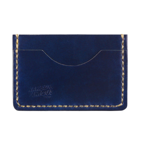 Shell Cordovan Leather Card Case - Indigo
