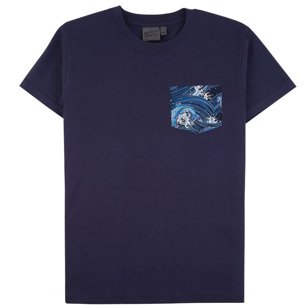 Pocket Tee - Navy - Japanese Waves - FRONT