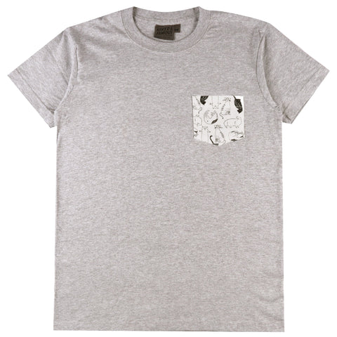 Pocket Tee - Heather Grey + Cats Sketches - White | Naked & Famous Denim