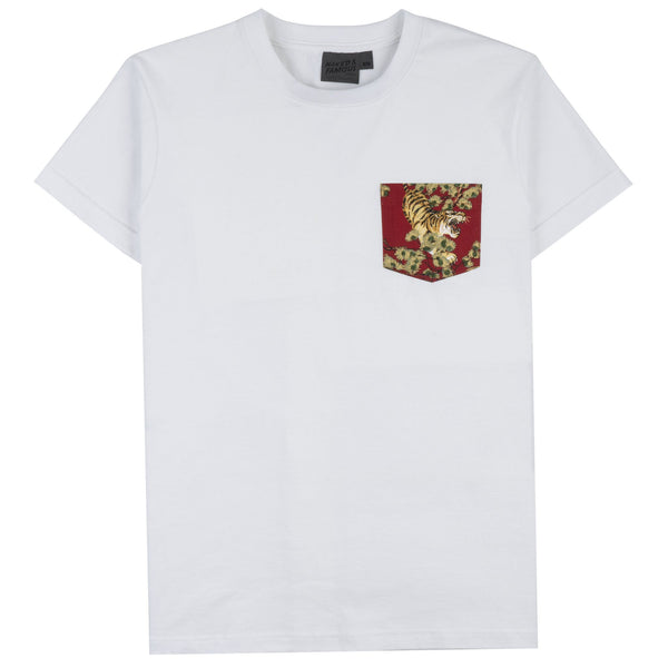 Pocket Tee - White - Japanese Tigers Red - front