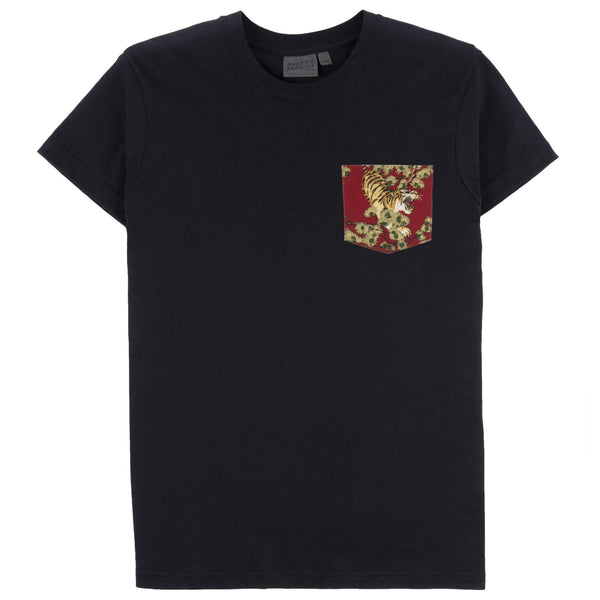 Pocket Tee - Black - Japanese Tigers - Red - front