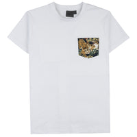 Pocket Tee - White - Japanese Tigers Navy - front