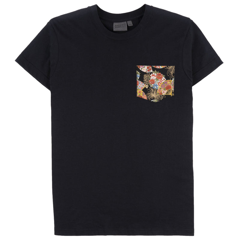 Pocket Tee - Black - Golden Floral Fans - FRONT
