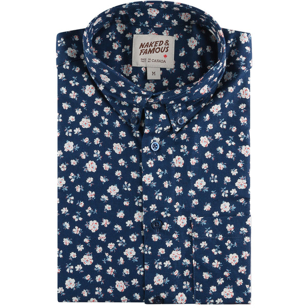 Short Sleeve Easy Shirt - Indigo Romantic Flowers - front collar view