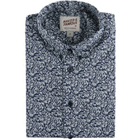Short Sleeve Easy Shirt - Indigo Floral - front collar view