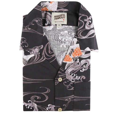 Aloha Shirt - Koi Fish - Black - front collar view