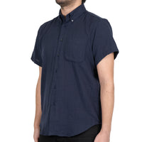 Short Sleeve Easy Shirt - Double Weave Gauze Slub - Navy