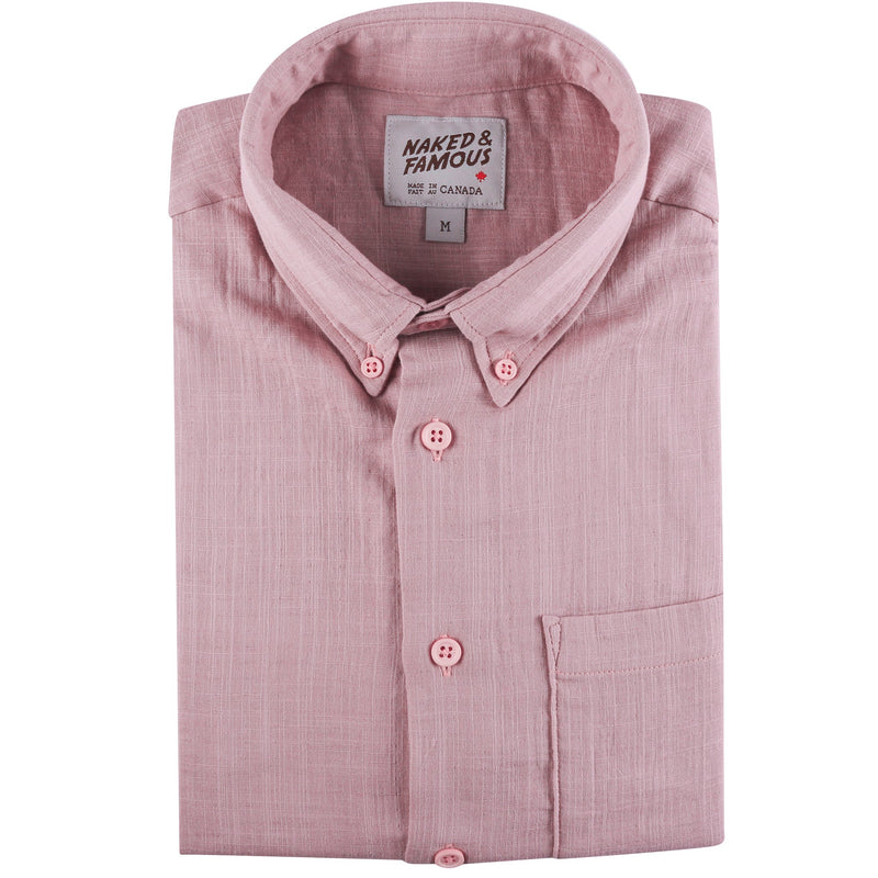 Short Sleeve Easy Shirt - Double Weave Gauze - Blush - front collar view