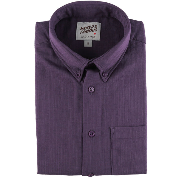 Short Sleeve Easy Shirt - Double Weave Gauze - Aubergine - front collar view
