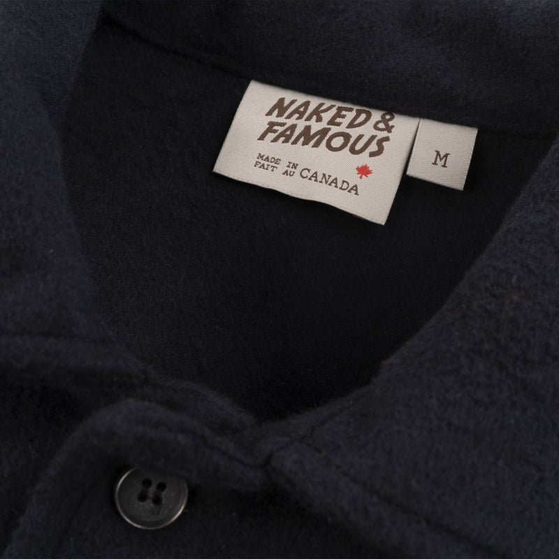 Work Shirt - Cotton Melton - Black - collar