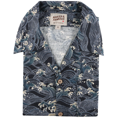 Aloha Shirt - Japanese Waves - front collar view