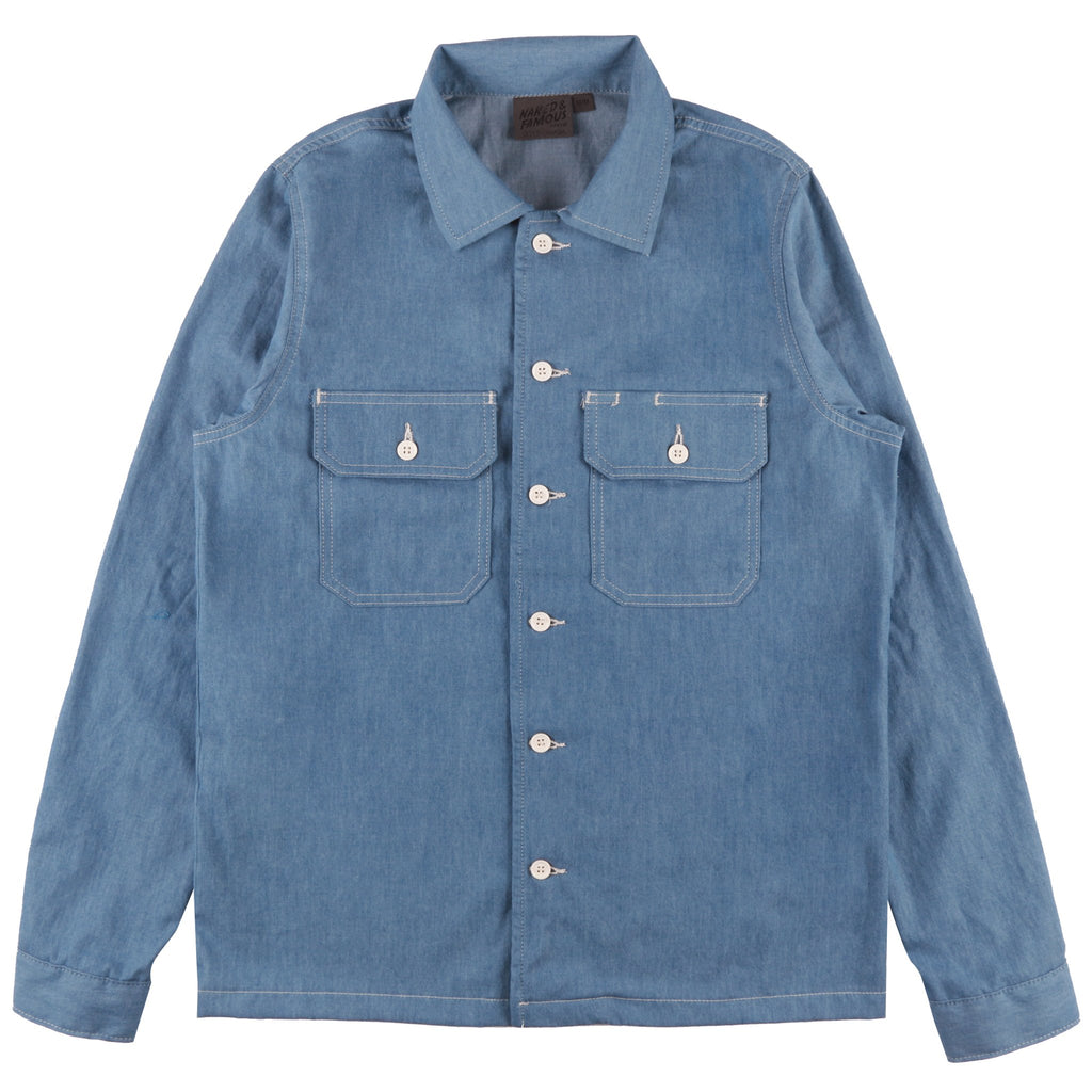 Work Shirt - 4.5oz Bleached Denim - Pale Blue