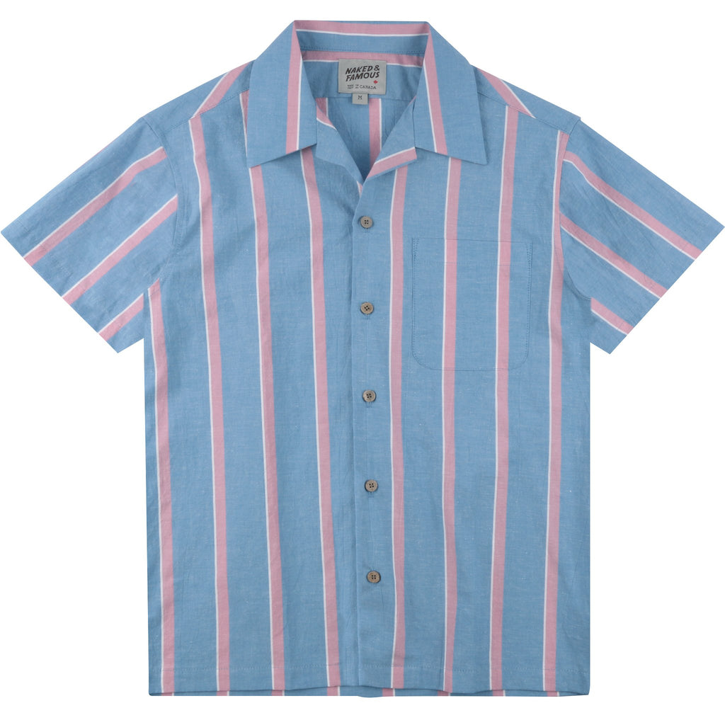 Aloha Shirt - Chambray Slub Stripe - Sky Blue
