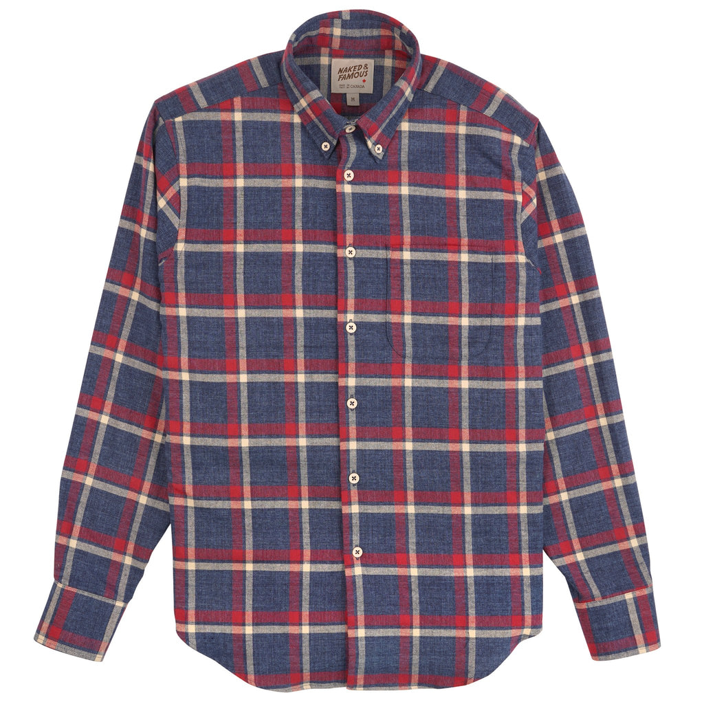 Easy Shirt - Northern Brushed Flannel - Blue/Red