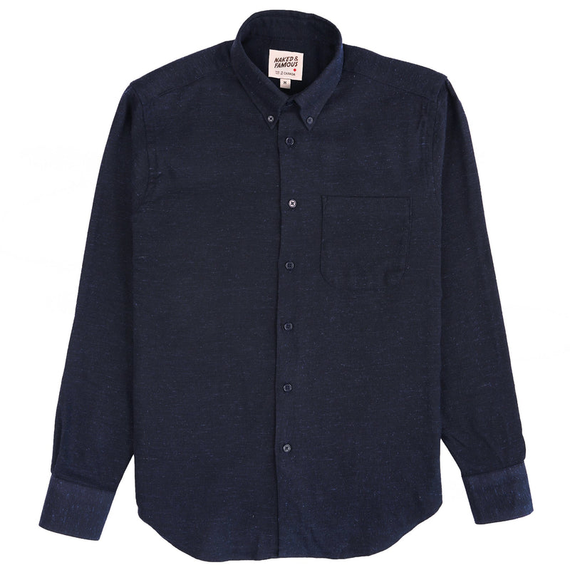 Easy Shirt - Silk Blend Nep Twill - Navy