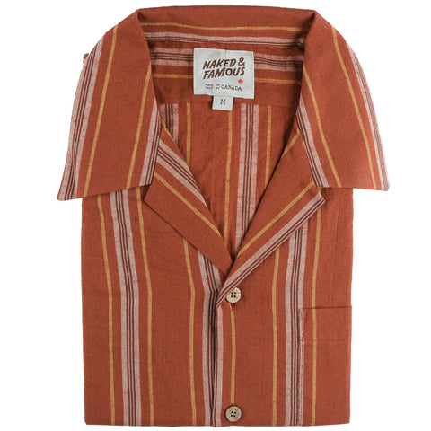 Aloha Shirt - Sahara Stripe - Brick - front collar view