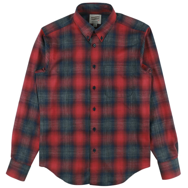 Regular Shirt - Ombre Melange Check - Red/Navy