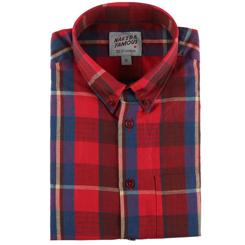 Easy Shirt - Summer Madras - Red - front collar view