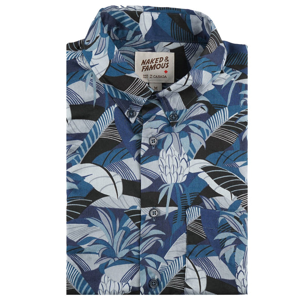 Short Sleeve Easy Shirt - Jungle Vacation - Blue - front collar view