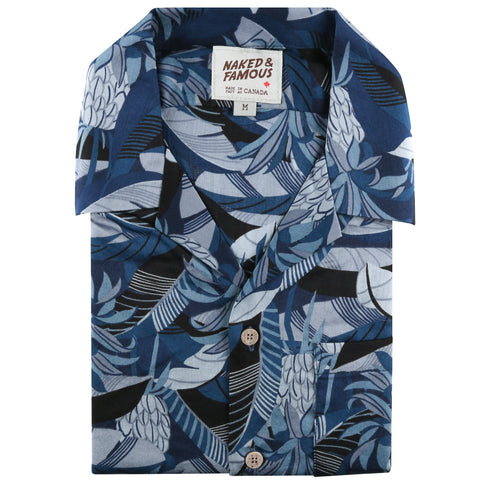 Aloha Shirt - Jungle Vacation - Blue - front collar view