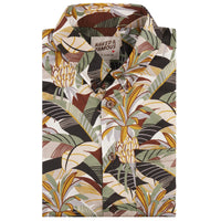 Short Sleeve Easy Shirt - Jungle Vacation - Brown / Green - front collar view