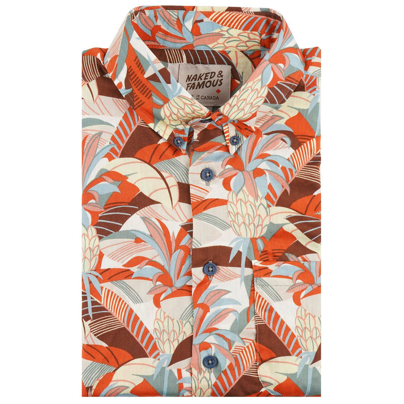 Short Sleeve Easy Shirt - Jungle Vacation - Orange / Teal - front collar view