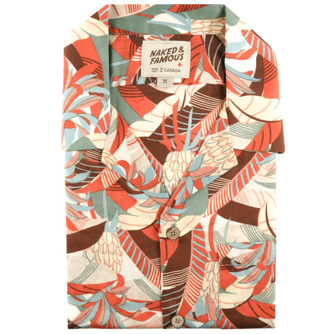 Aloha Shirt - Jungle Vacation - Orange / Teal - front collar view