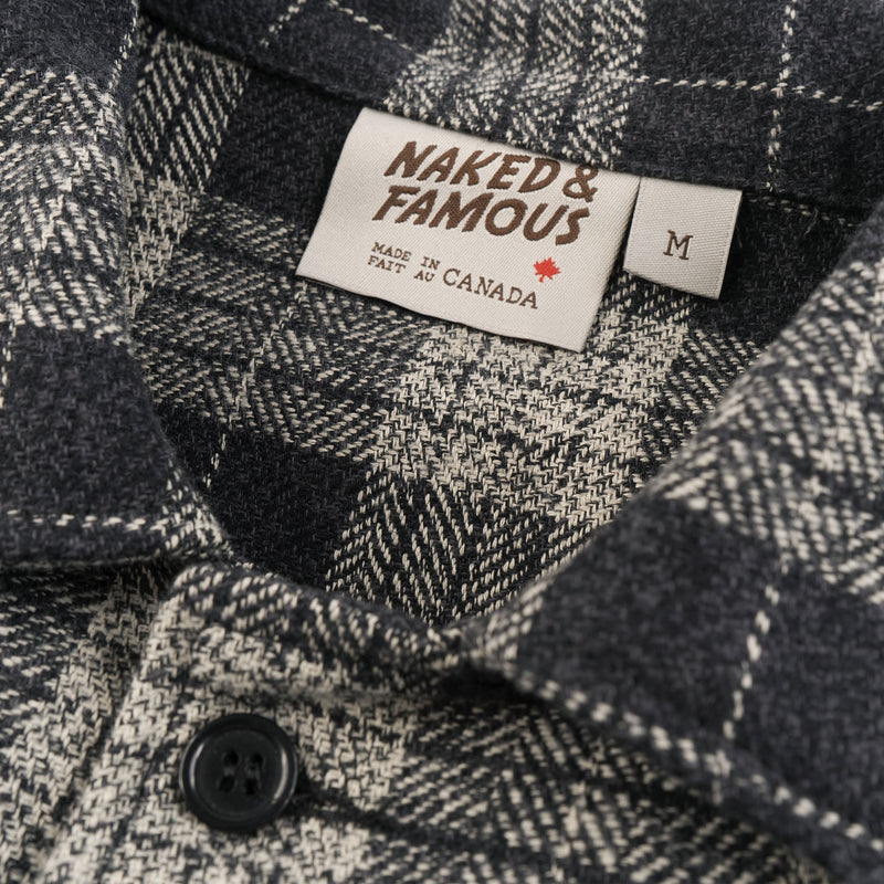 Work Shirt - Triple Twist Yarn Vintage Flannel - Grey - collar