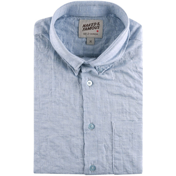Easy Shirt - Organic Lawn - Blue - folded collar view
