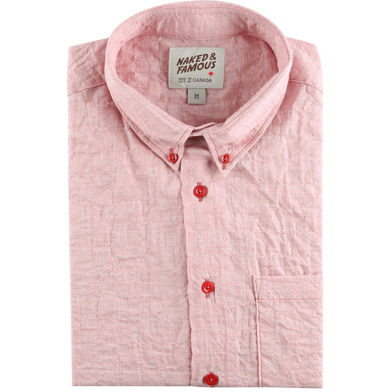 Easy Shirt - Organic Lawn - Red - front collar view
