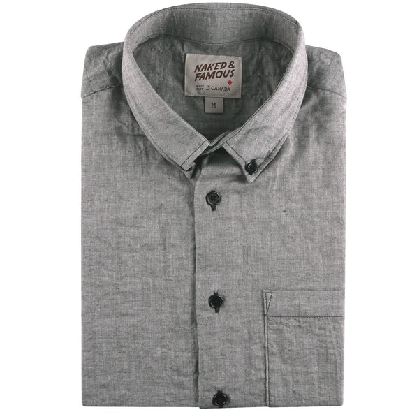 Easy Shirt - Organic Lawn - Black - folded collar view