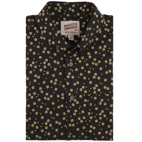 Short Sleeve Easy Shirt - Japanese Golden Flowers - front