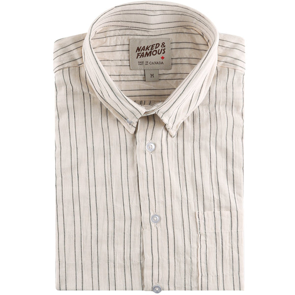 Short Sleeve Easy Shirt - Standard Stripe - Ecru - front collar view