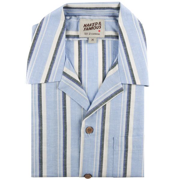 Aloha Shirt - Cambric stripes - Pale Blue - front collar view