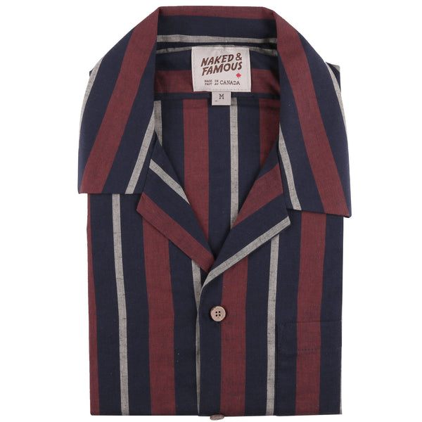 Aloha Shirt - Cambric Stripes - Navy / Brick - Front Collar View