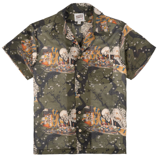 Aloha Shirt - Japanese Skeleton - Green