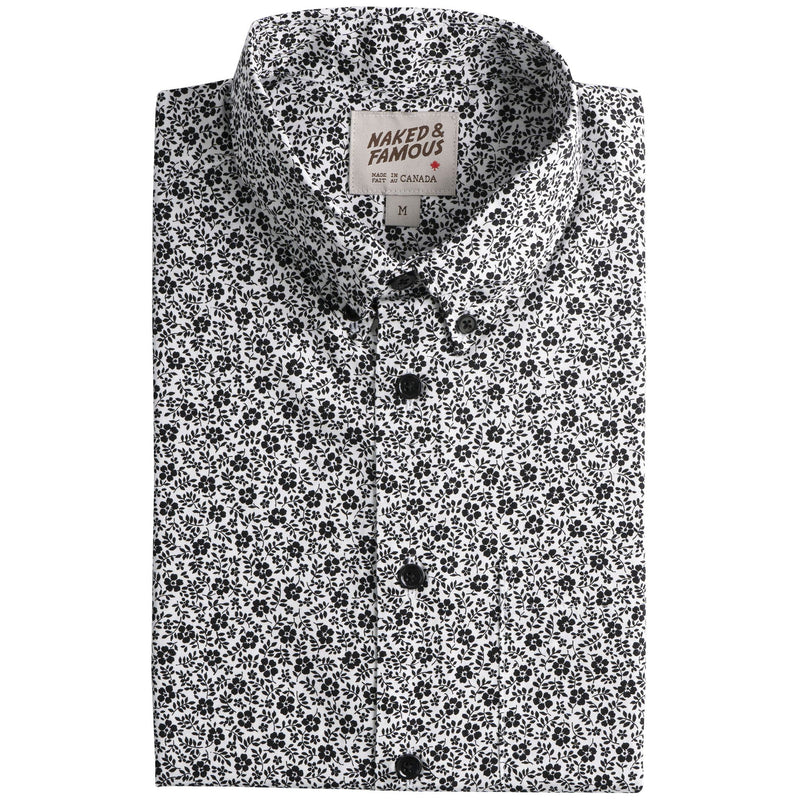 Easy Shirt - Black & White Flowers - White - main