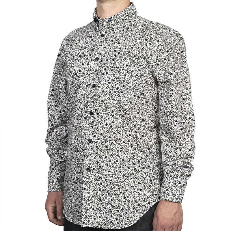 Easy Shirt - Black & White Flowers - White - side