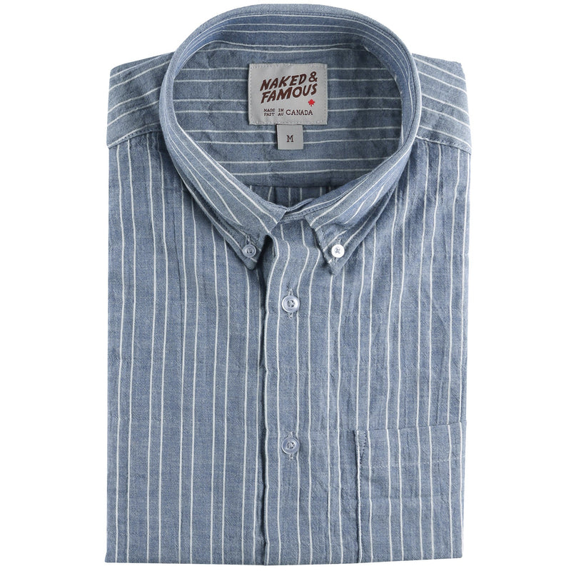 Short Sleeve Easy Shirt - Standard Stripes - Indigo - front collar view