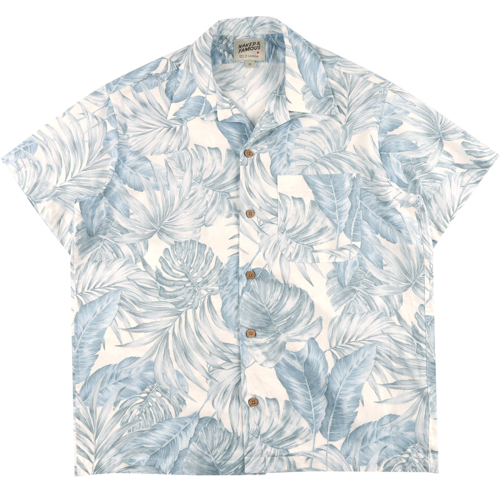 Aloha Shirt - Tropical Leaves White