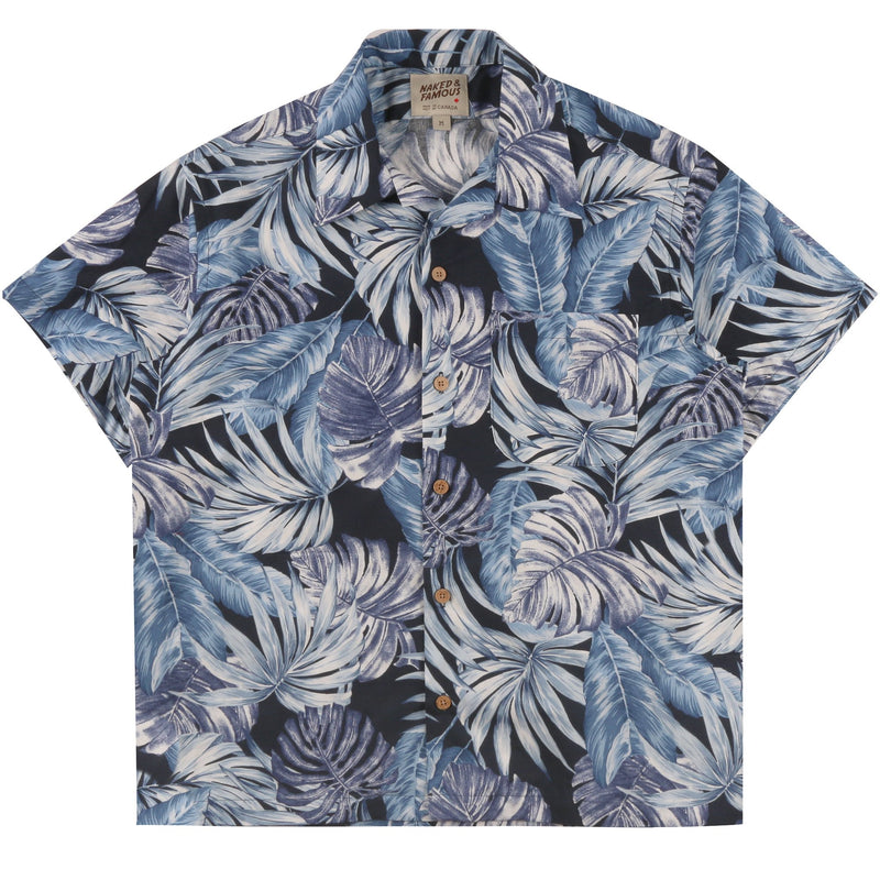 Aloha Shirt - Tropical Leaves Navy | Naked & Famous Denim