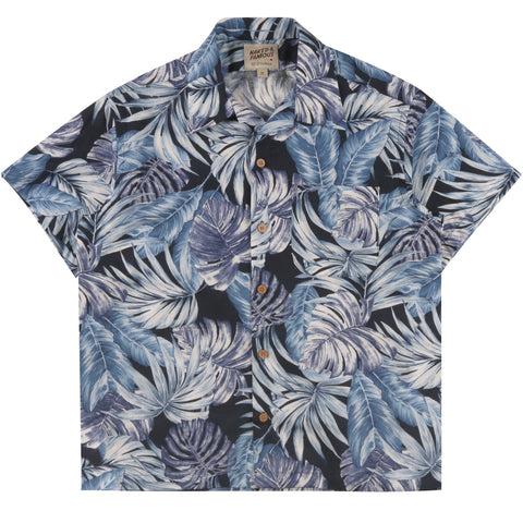 Aloha Shirt - Tropical Leaves Navy