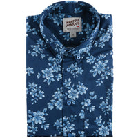 Short Sleeve Easy Shirt - Floral Sketch  - Blue - front collar view